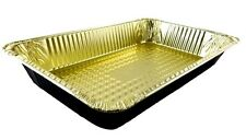 Handi-Foil Full-Size Deep Premium Quality Black & Gold Aluminum Steam Table Pan