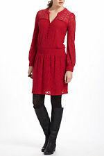 Anthropologie Field Day Peasant Dress Sz L, Rich Red Lace Dropwaist By LeifNotes