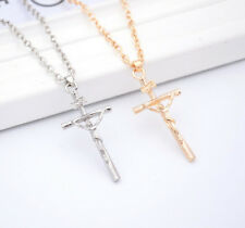 1 Pc Jesus Chain HOT Cross Pendant Jewelry Christ NEW Silver Necklace Crucifix