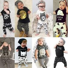 Newborn Toddler Kids Baby Boys Girls Outfits Clothes T-shirt Tops+Pants 2PCS Set