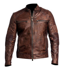 Mens Biker Vintage Motorcycle Cafe Racer Brown Distressed Leather Jacket