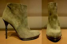 GUCCI DEBRA MILITARY GREEN SUEDE BAMBOO HEEL ANKLE BOOTS EU 35.5