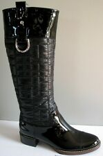 DOLCE GABBANA D&G Black Quilted Nylon Patent Logo Tall Riding Boots EU 37.5 US 7