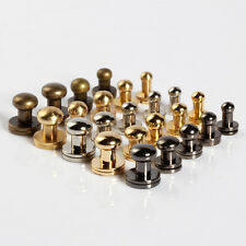 20 pcs Stud Screw Round Head Solid Brass Nail Rivet Chicago Button DIY Leather