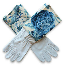 NEW Washable leather gardening gloves in blue blooms by Homegrown & Handmade