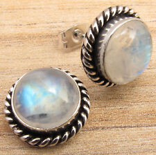 925 Silver Overlay RAINBOW MOONSTONE & Other Gemstones Variation ART Earrings