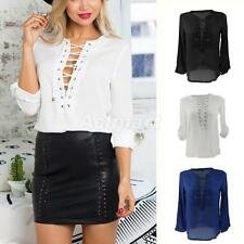 Chic Round Neck Lace-Up Hollow Out Chiffon Shirt Blouse Tunic Top for Women