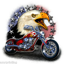 Eagle with American Flag and Chopper Motorcycle Bike Design T-Shirt, mc90010