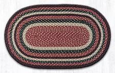 Capitol Earth Rugs Burgundy, Black, Tan Jute Braided Oval Country Rug C-344