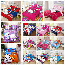 Cool Hello Kitty Cotton Bedding Set 4pc, Quilt Cover Sheet & Pillowcase Sheets