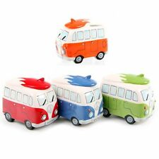 Retro Piggy Bank Ceramic Camper Van Piggy Bank Cute Surfboard on Roof Money Box