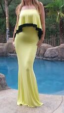 Maya Antonia-3XL SIZE-Sexy Strapless Ruffle Maxi Dress Yellow w/Black trim