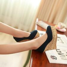 women shoes wedge heels slip on faux suede black blue red fashion pumps  Dress