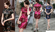 Traditional Chinese Women's Dragon Phoenix Mini Dress Cheong-sam SZ S-6XL