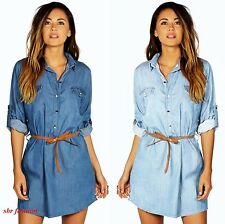 NEW WOMENS LADIES DENIM LOOK TURN UP SLEEVE BELTED JEANS SHIRT DRESS TOP 8-16