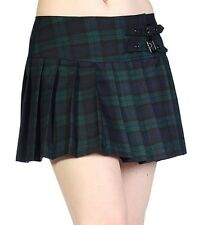 Banned Pleated Short Mini Skirt Checked Tartan Emo Rock Punk 8 10 12 14 16 Green