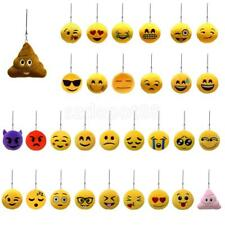 Round Plush Emoticon Charm Key Chain Strap Keyring Bag Decor Assorted Design