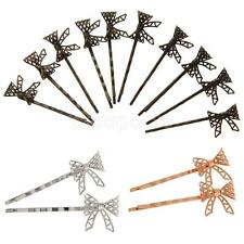 10 Vintage Handemade Hair Bobby Pins Retro Grips slides Hair Accessories Bowknot