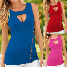 Sexy Women Vest Tank Top Zipper Casual Sleeveless Blouse O-Neck Summer T-Shirt