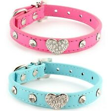 Puppy Dog Cat Heart Adjustable Leather Collar Rhinestone Crystal Diamond Bling