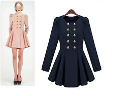 Korean womens double breasted slim dress coats cute girls puff jackets new G636