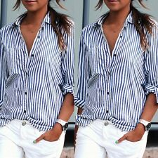 Womens Sexy Loose Long Sleeve Tee Shirt Button Down Vertical Striped Tops Blouse