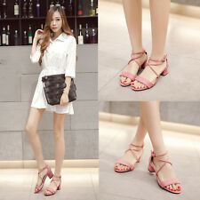 Summer New Block Mid Heels Casual Peep Toe Shoes Cross Ankle Strap Suede Sandals