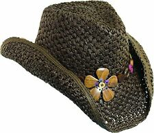 New Dorfman Pacific Womens Crocheted Toyo Western Cowgirl Hat with Flower