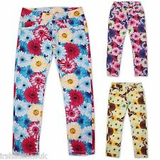 Girls Stylish Floral Print Jeans Kids Flowery Fashion Trousers New Age 3-14 Year