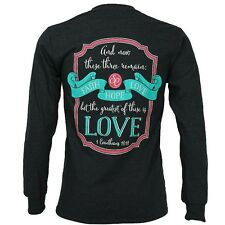 Southern Couture Womens Christian T-Shirt: Long Sleeve Faith Hope Love 1 Cor 13