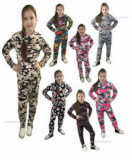 Womens KIDS GIRLS Army Camouflage Floral Print 2 Piece Tracksuit Jogging Suit