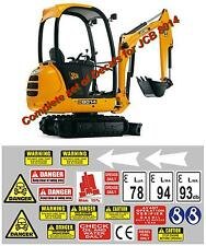 DECAL SET FOR JCB 8014 / 8016 / 8018 Mini Digger Pelle Bagger Excavator Stickers