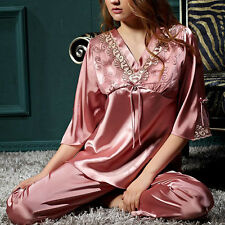 Pink Lace Bow Satin Silk Pajama Pyjama 2-piece Set Plus size 3XL Sleepwear Women