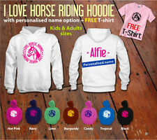 I love Horse riding hoodie-NEW-girls boys womens mens show jumping hoody pony