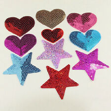 sequins heart motif iron/sew on embroidered patch Cloth badge applique diy SP