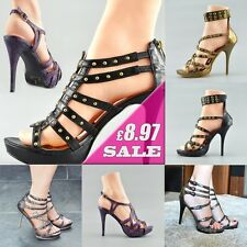 Womens High Heels Wedding Party Ladies Gladiator Sandals Strappy Ankle Shoes