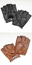 Men's Deerskin Leather Fingerless Half Finger Motocycle Driving unlined Gloves