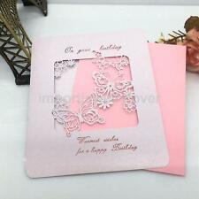 10/lot Sweet Handmade HAPPY BIRTHDAY Blank Greeting Card Butterfly-Pink/Ivory