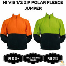 HI VIS POLAR FLEECE Jumper 1/2 Half Zip Safety Workwear Fleecy Jacket Unisex WB