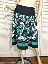 NWT $98 NYGARD COLLECTION SKIRT 6 /8 /14 FULL NAVY/TEAL/WHITE EMBROIDERED FLORAL