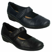 EVERLAY KENNON LADIES CLARKS VELCRO CLASSIC MARY JANE CASUAL WEDGE HEEL SHOES