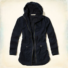 HOLLLISTER Abercrombie Womens Point Mugu Twill Parka Military Jacket Navy S