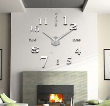 New Modern Large Wall DIY Clock 3D Mirror Surface Sticker Room Decor Decoration