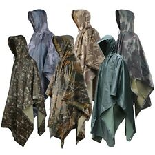 NEW Military Outdoor 3 in 1 Raincoat Poncho Backpack Rain Cover Tent Mat Awning