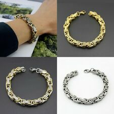 Cool Stainless Steel Men's Silver Tone Byzantine Link Bracelet Chain Jewelry New