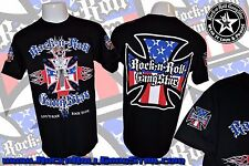 MOTORCYCLE BIKER IRON CROSS RED WHITE BLUE USA MENS ROCK T SHIRT HEAVY METAL