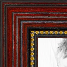 ArtToFrames 1 Inch Cherry with Gold Beads Wood Picture Poster Frame ATF-80801