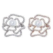 Hollow Cutout Rose Flower Diamante Crystal Rhinestone Brooches Pins Partywear