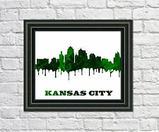 Kansas City Skyline Print City Silhouette Abstract Poster Art Outline