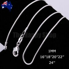 """925 Sterling Silver 1mm Snake Chain Necklace Fashion Jewellery 16""""-24"""" inches"""